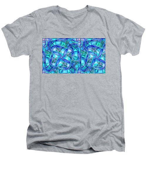 Men's V-Neck T-Shirt featuring the digital art Organic In Square by Ron Bissett