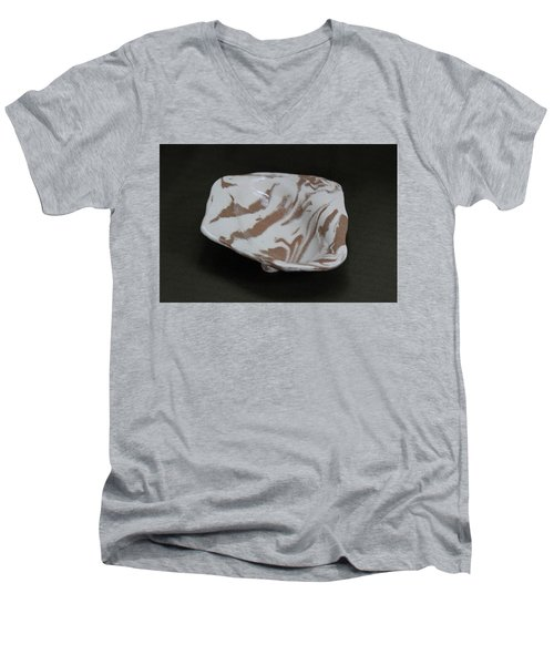 Organic Oval Marbled Ceramic Dish Men's V-Neck T-Shirt by Suzanne Gaff