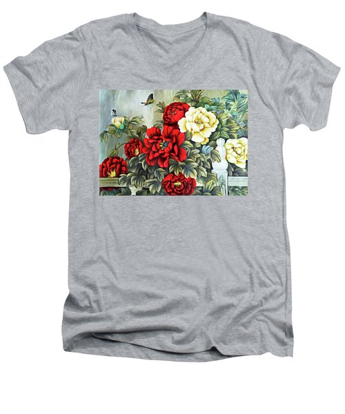 Men's V-Neck T-Shirt featuring the photograph Oriental Flowers by Munir Alawi