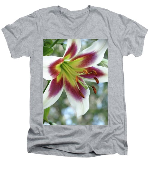 Oriental Lily In Summer Sunset Men's V-Neck T-Shirt by Rebecca Overton