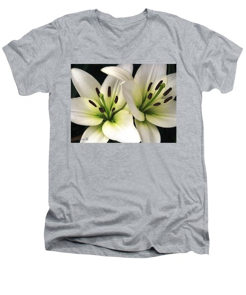 Oriental Lily Named Endless Love Men's V-Neck T-Shirt by J McCombie