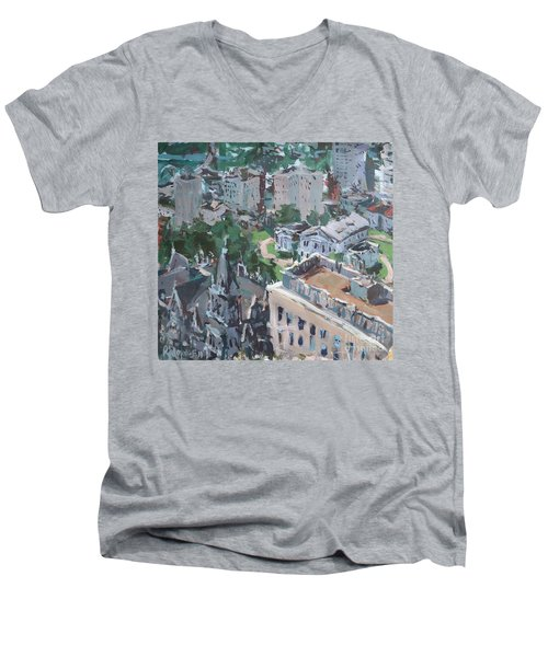 Original Contemporary Cityscape Painting Featuring Virginia State Capitol Building Men's V-Neck T-Shirt by Robert Joyner