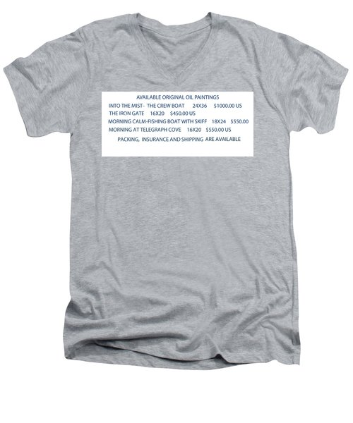 Men's V-Neck T-Shirt featuring the painting Original Oil Painting Availability List by Gary Giacomelli