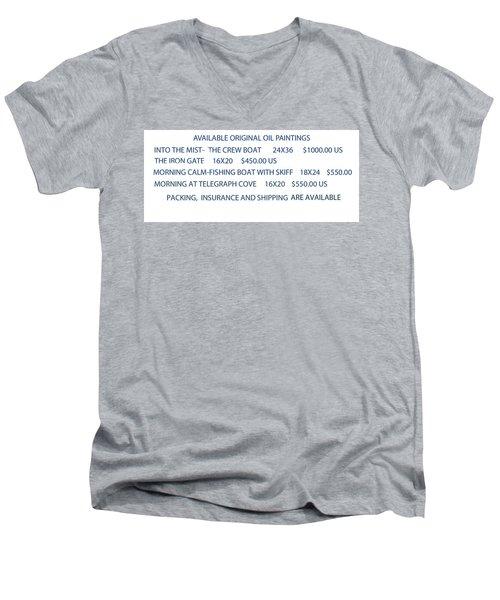 Original Oil Painting Availability List Men's V-Neck T-Shirt