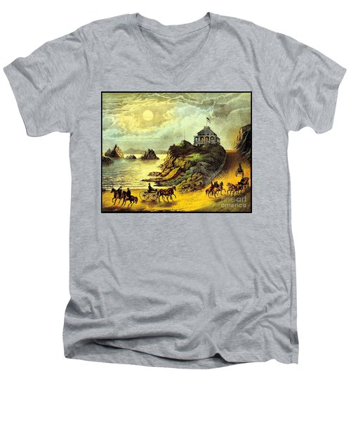 Men's V-Neck T-Shirt featuring the painting Original San Francisco Cliff House Circa 1865 by Peter Gumaer Ogden