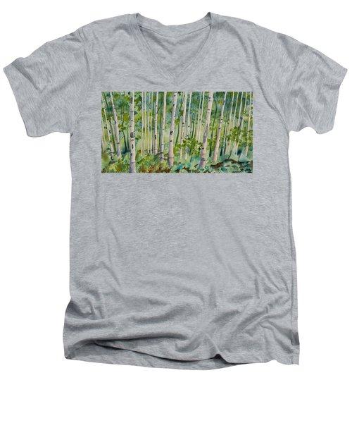 Original Watercolor - Summer Aspen Forest Men's V-Neck T-Shirt