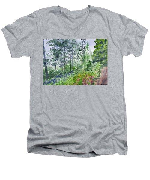 Original Watercolor - Summer Pine Forest Men's V-Neck T-Shirt
