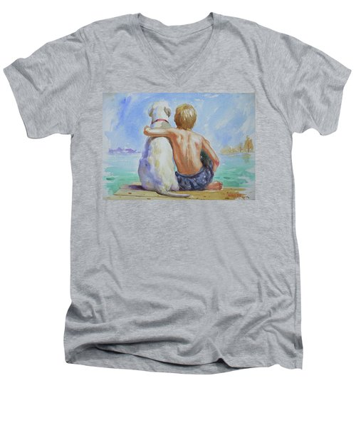 Original Watercolour Painting Nude Boy And Dog On Paper#16-11-18 Men's V-Neck T-Shirt