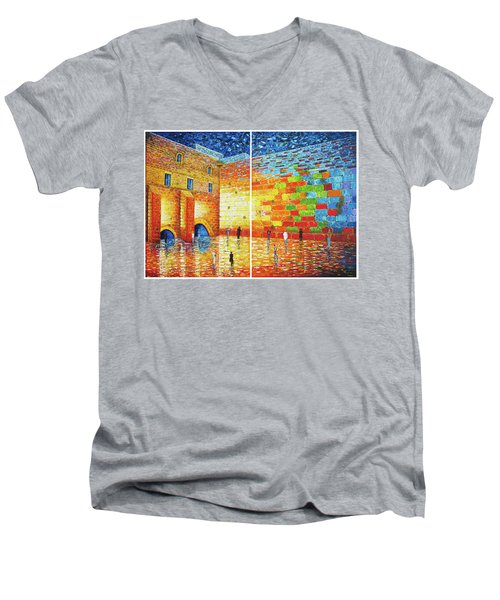 Men's V-Neck T-Shirt featuring the painting Original Western Wall Jerusalem Wailing Wall Acrylic 2 Panels by Georgeta Blanaru