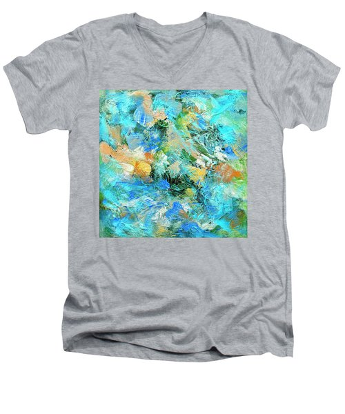 Men's V-Neck T-Shirt featuring the painting Orinoco by Dominic Piperata