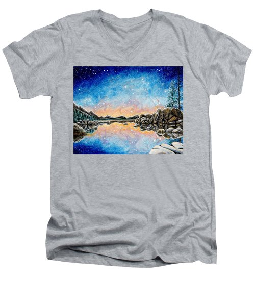 Men's V-Neck T-Shirt featuring the painting Orion Over Tahoe Winter by Matt Konar