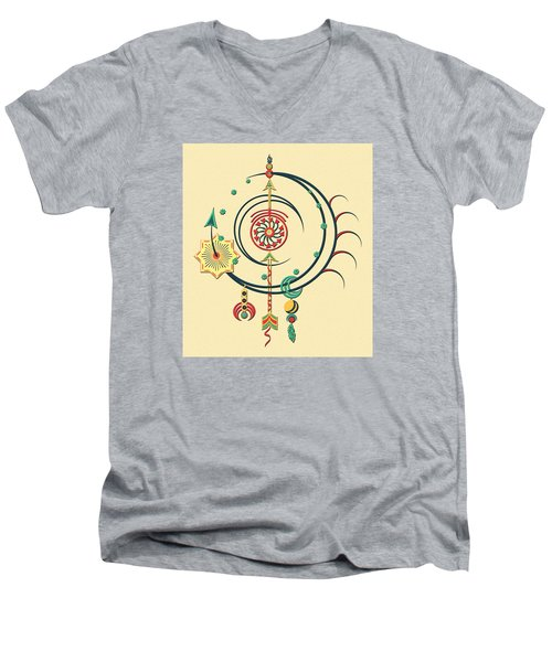 Men's V-Neck T-Shirt featuring the drawing Ornament Variation Three by Deborah Smith