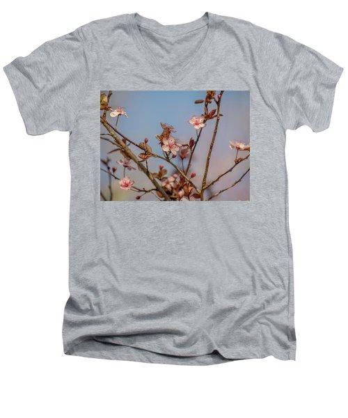 Purple Leaf Sandcherry Blossoms Men's V-Neck T-Shirt