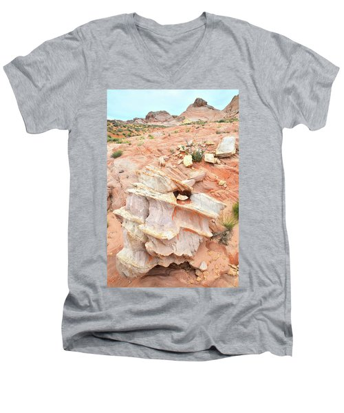 Men's V-Neck T-Shirt featuring the photograph Ornate Rock In Wash 4 Of Valley Of Fire by Ray Mathis