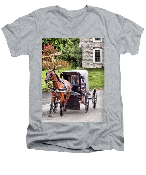 Men's V-Neck T-Shirt featuring the photograph Ornery by Polly Peacock