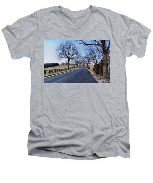 Men's V-Neck T-Shirt featuring the photograph Osage County Road by Cricket Hackmann