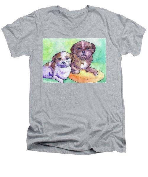 Oscar And Max Men's V-Neck T-Shirt by Whitney Morton