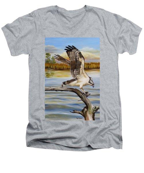 Osprey Landing Men's V-Neck T-Shirt by Phyllis Beiser