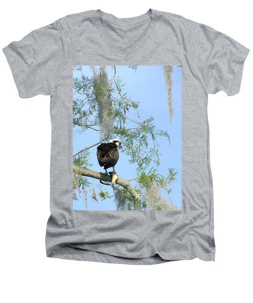 Osprey With A Fish Men's V-Neck T-Shirt by Chris Mercer