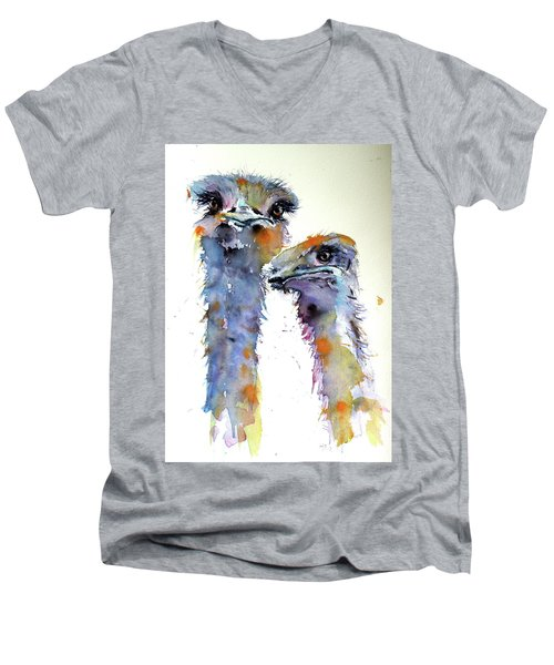 Men's V-Neck T-Shirt featuring the painting Ostriches by Kovacs Anna Brigitta