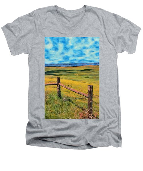 Men's V-Neck T-Shirt featuring the painting Other Side Of The Fence by Jeff Kolker