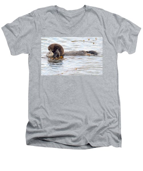 Men's V-Neck T-Shirt featuring the photograph Otter Love by AJ Schibig