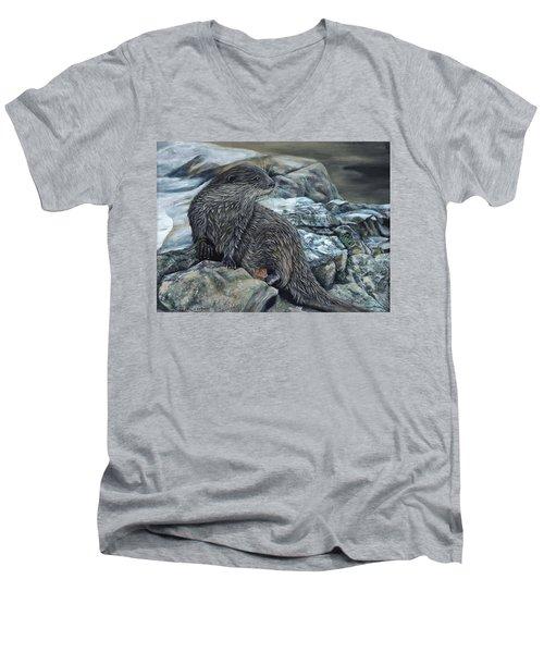 Otter On Rocks Men's V-Neck T-Shirt