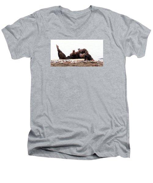 Men's V-Neck T-Shirt featuring the photograph Otters In Boulevard Park by Karen Molenaar Terrell