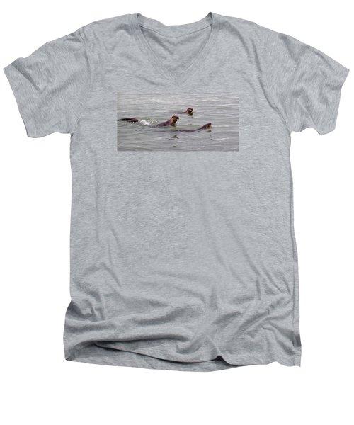 Men's V-Neck T-Shirt featuring the photograph Otters Swimming by Karen Molenaar Terrell