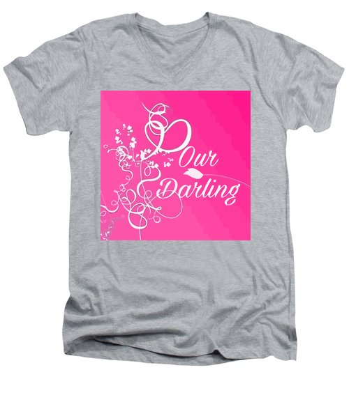 Our Darling On Pink Background Men's V-Neck T-Shirt
