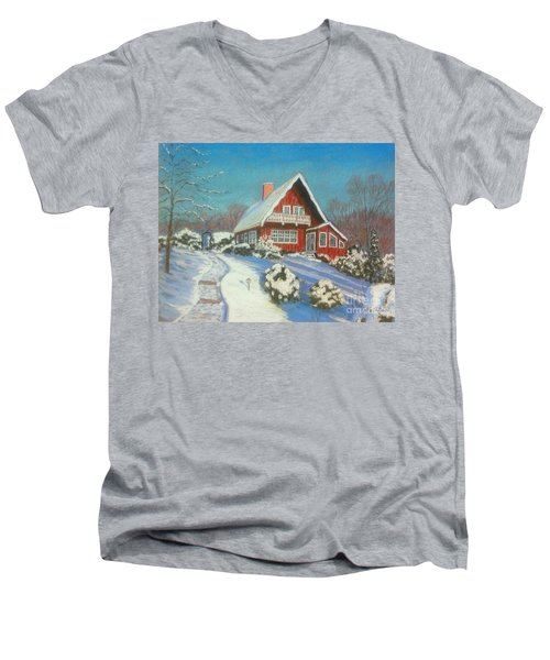 Our Home Men's V-Neck T-Shirt by Rae  Smith  PAC