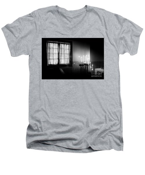 Men's V-Neck T-Shirt featuring the photograph Our Lady Chapel Detail In  The Ons' Lieve Heer Op Solder Amsterdan Bw by RicardMN Photography
