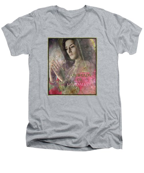 Men's V-Neck T-Shirt featuring the painting Our Lady by Suzanne Silvir