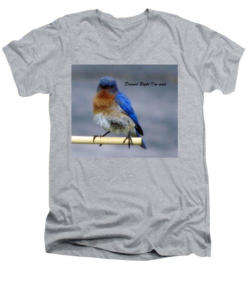 Our Own Mad Blue Bird Men's V-Neck T-Shirt by Betty Pieper