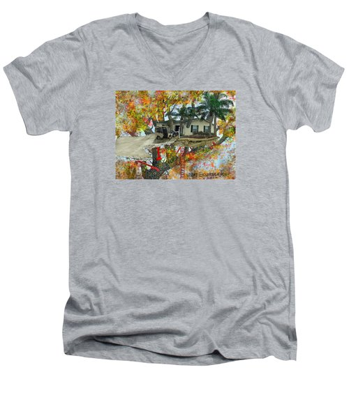 Men's V-Neck T-Shirt featuring the drawing Our Tree House by Jim Hubbard