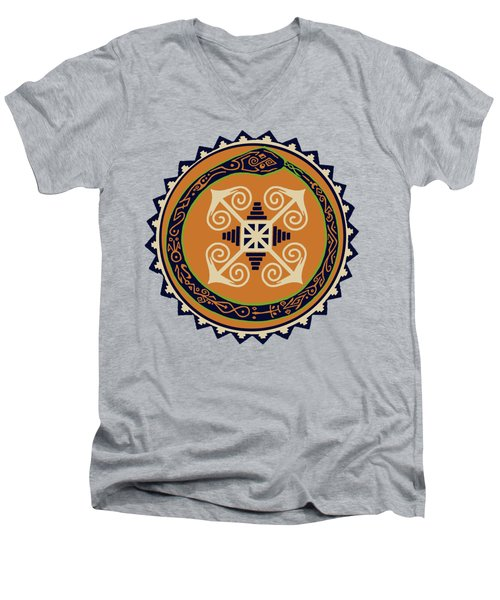 Ouroboros With Devine Fire Wheel Men's V-Neck T-Shirt
