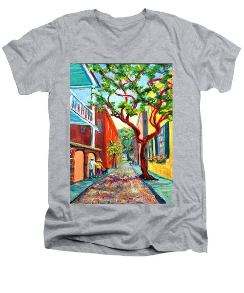 Out And About Men's V-Neck T-Shirt by Dorothy Allston Rogers