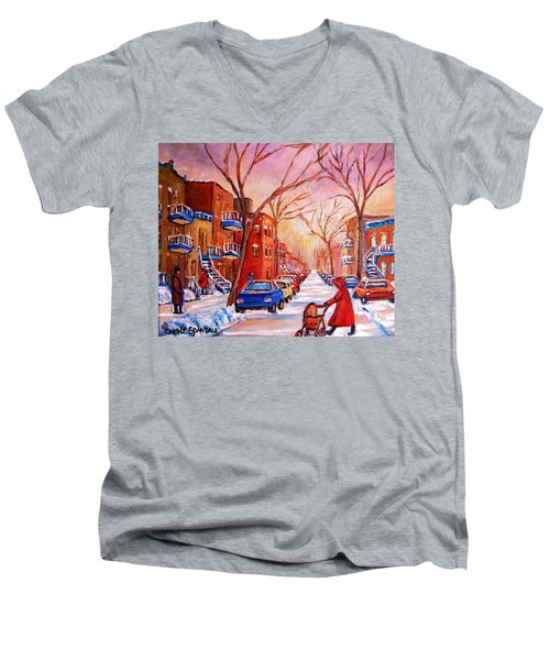 Men's V-Neck T-Shirt featuring the painting Out For A Walk With Mom by Carole Spandau