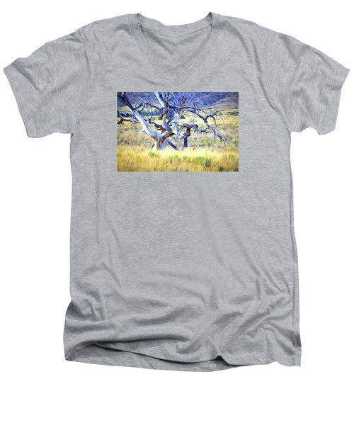 Men's V-Neck T-Shirt featuring the digital art Out Standing In My Field by James Steele