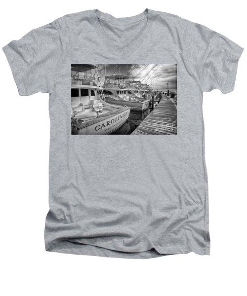 Outer Banks Fishing Boats Waiting Bw Men's V-Neck T-Shirt by Dan Carmichael