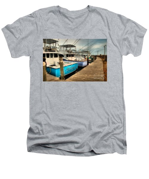 Outer Banks Fishing Boats Waiting Men's V-Neck T-Shirt by Dan Carmichael