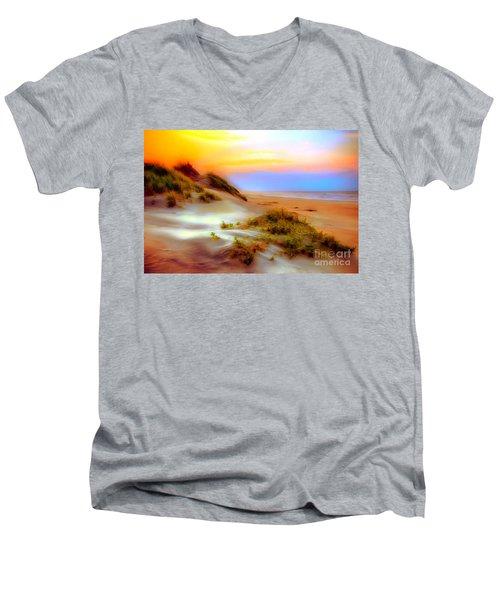 Outer Banks Soft Dune Sunrise Ap Men's V-Neck T-Shirt by Dan Carmichael