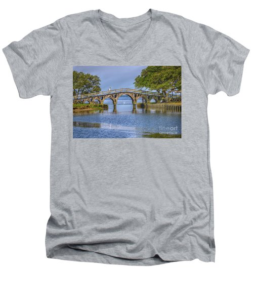 Men's V-Neck T-Shirt featuring the photograph Outer Banks Whalehead Club Bridge  by Randy Steele