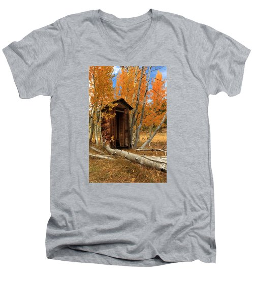Outhouse In The Aspens Men's V-Neck T-Shirt by James Eddy