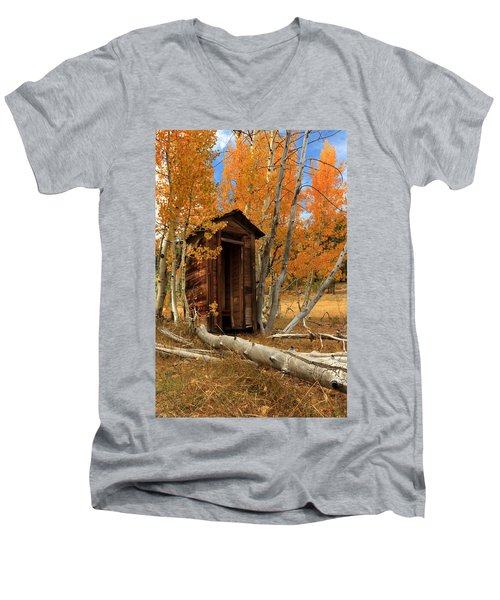 Outhouse In The Aspens Men's V-Neck T-Shirt
