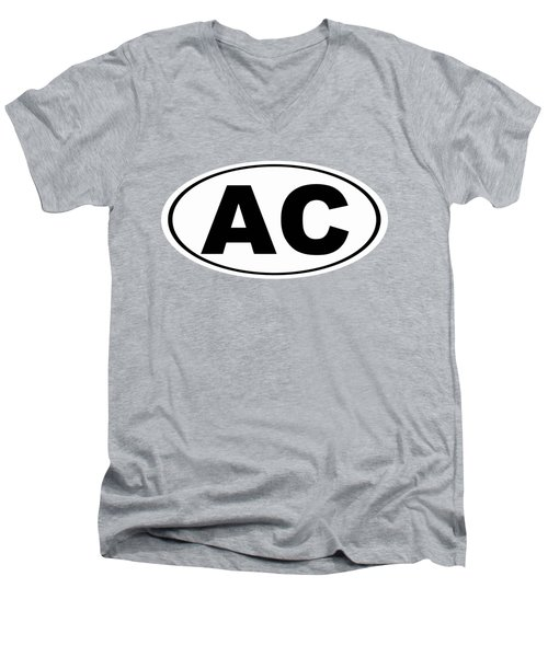 Men's V-Neck T-Shirt featuring the photograph Oval Ac Atlantic City New Jersey Home Pride by Keith Webber Jr