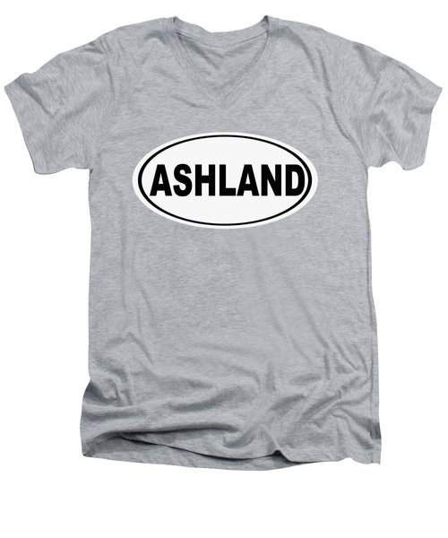 Men's V-Neck T-Shirt featuring the photograph Oval Ashland Oregon Or Ohio Home Pride by Keith Webber Jr