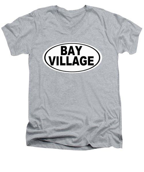 Men's V-Neck T-Shirt featuring the photograph Oval Bay Village Ohio Home Pride by Keith Webber Jr