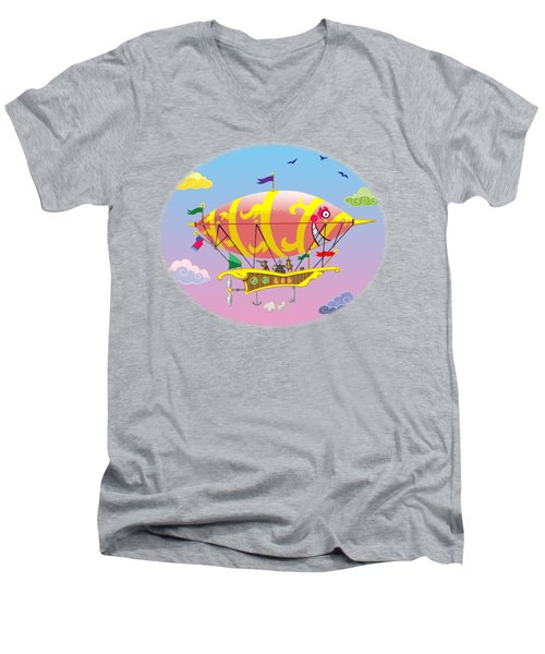 Men's V-Neck T-Shirt featuring the digital art Dreamship II by J L Meadows