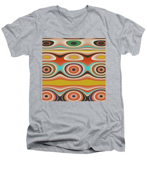 Men's V-Neck T-Shirt featuring the digital art Ovals And Circles Pattern Design by Jessica Wright